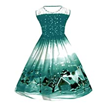 Sunny Fashion Girls Dress, COOL99 Women Christmas Print Lace Pin Up Swing Lace Party Panel Plus Size Dress (Green, XXXX-Large)