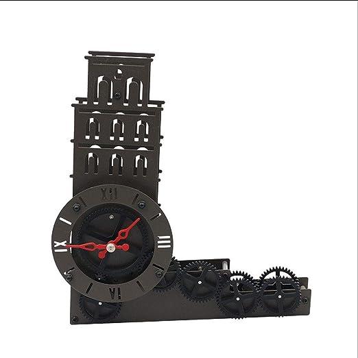 Hkwshop Reloj de Escritorio Reloj de Torre Inclinada de Metal Art ...