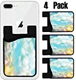 MSD Phone Card holder, sleeve/wallet for iPhone Samsung Android and all smartphones with removable microfiber screen cleaner Silicone card Caddy(4 Pack) IMAGE ID 29979506 Colorful watercolor cloud and