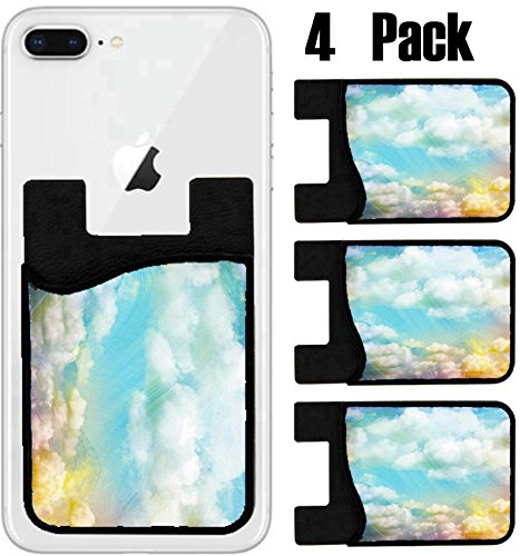 MSD Phone Card holder, sleeve/wallet for iPhone Samsung Android and all smartphones with removable microfiber screen cleaner Silicone card Caddy(4 Pack) IMAGE ID 29979506 Colorful watercolor cloud and by MSD