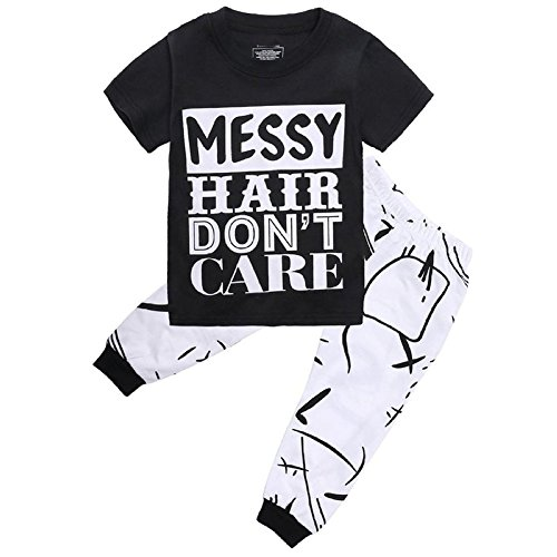 GRNSHTS Little Girls Short Sleeve Letters Print T-shirt and Pants Outfits (4T (4-5Years), Black/White)