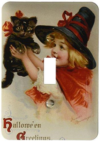 3dRose lsp_47024_1 Halloween Greetings Cat, Cute, Girl, Costume,
