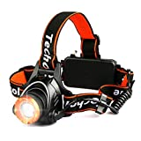 Headlamp Flashlight Techole Bright Headlight - 2000 Lumens Waterproof and Rechargeable Head Lamp Up to 500ft Range with 3 Modes Red Light Adjustable Strap, LED Headlamps for Camping, Hiking, Running