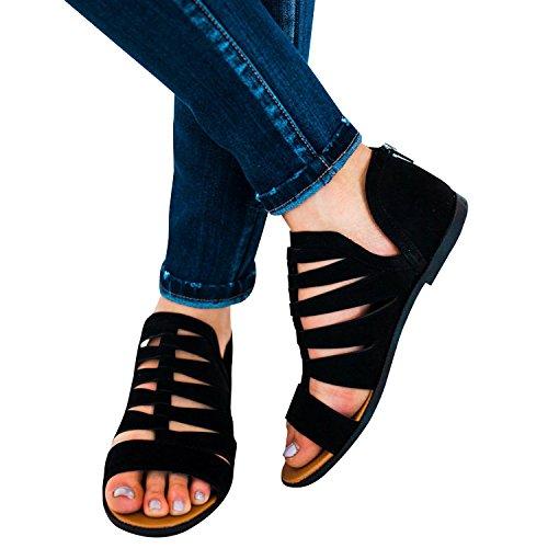 Chuanqi Donna Casual Sandali Flatform Peep Toe Scarpe Estive Piatte Con Cerniera Alla Caviglia Nere