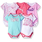PUMA Baby Girls' 5 Pack SS Bodysuits, Sugar Plum1, 0-3 Months