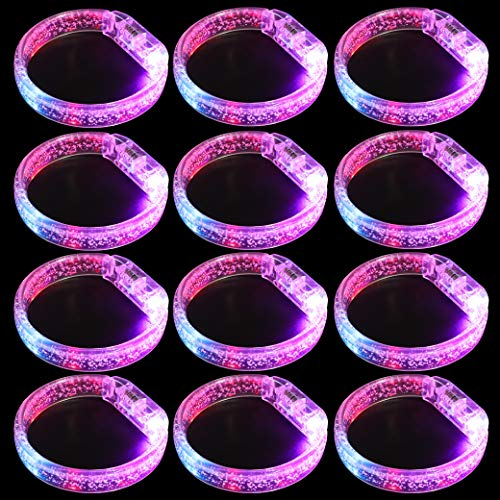 Leobee Flashing LED Light up Bracelets, Colorful Blinking Glow Wristbands Party Favors Toys Supplies for Birthday, Parties, Carnivals, Clear Case 12 Pack