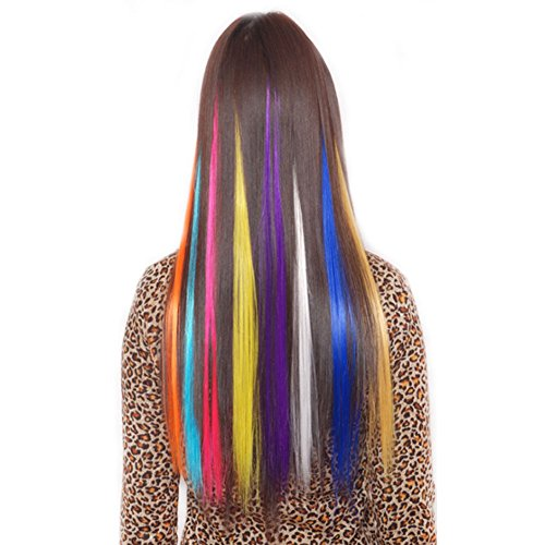 Yonova 24 pcs 20 inch Straight Colored Party or Performance Highlight Clip on in Hair Extensions Multiple Colors