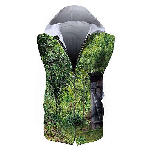 Men's Sweatshirt Vest,Outhouse,Old Ancient Cottage Outhouse in a Spring ()