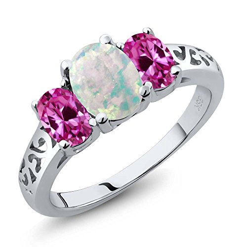 2.05 Ct Oval White Simulated Opal Pink Created Sapphire 925 Sterling Silver 3 Stone Ring (Trellis Sapphire Ring)