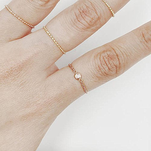 Natural Diamond Set Bezel Chain Ring, Brilliant Cut Diamond Minimalist Ring, 14K Solid Gold Chain Diamond Ring