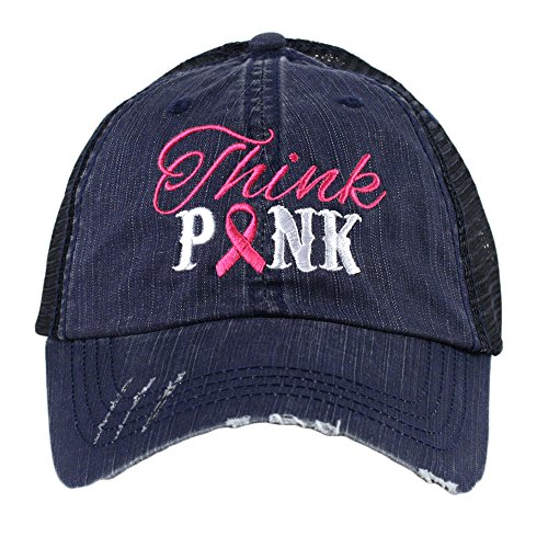 Cancer Awareness Trucker Hat (Think Pink Breast Cancer Awareness Ribbon Women's Trucker Hat Cap by Katydid)