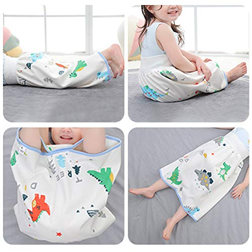 7-dreamland 2 Pieces Waterproof Diaper Skirt Shorts for Baby Boy and Girl,Breathable Cotton Potty Training Pants for Toddler,Nighttime Resuable Cloth Diaper Bedclothes for Bedwetting 4-8T