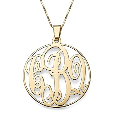 Amazon 14k solid gold monogram necklace custom made with any amazon 14k solid gold monogram necklace custom made with any initials free engraving 14k gold 16 inches pendant necklaces jewelry aloadofball Gallery
