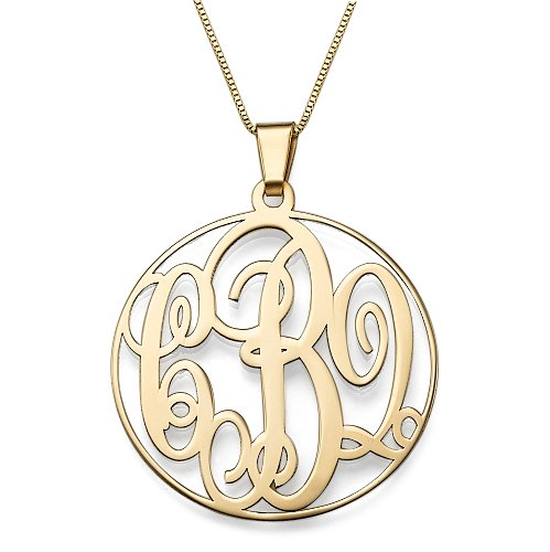 14K Solid Gold Monogram Necklace - Custom Made with any Initials! Free engraving! (14k Gold, 16 Inches) ()