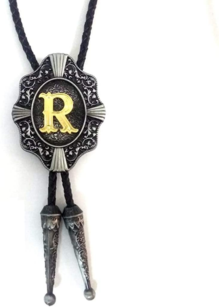 R Aalphabet Letter Western Bolo String Tie Initial Letters A-Z Bolo Tie Gold Background for Men for Women necktie