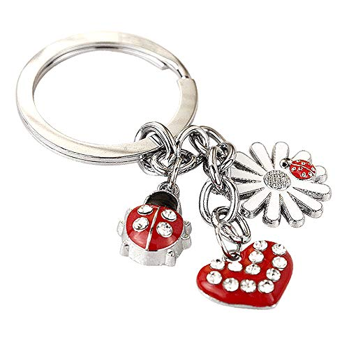- Z68E Cute Red Ladybug Heart White Lily Charms Key Ring Keychain