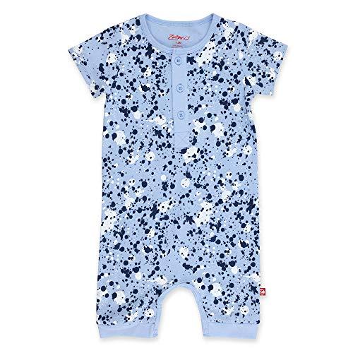 Zutano Organic Henley Bodysuit, Light Blue Splatter Paint, 6M (Best Blue Body Paint)