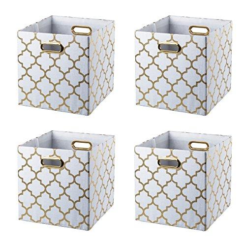 BAIST Cube Storage Bins,Fancy Foldable Canvas Decorative Gold Storage Cubes Bins Basket for Toys Clothes Books Large Square,4-Pack
