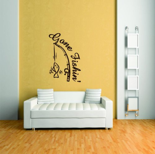 Gone Fishing - Animal Picture Art - Peel & Stick Vinyl Wall Decal Sticker Size: 31x21 Color: Black