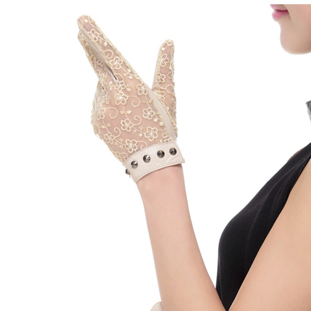 Nappaglo Women's Nappa Leather & Lace Unlined Gloves Rivet Decoration Summer Short for Driving Prom Banquet Party Sunscreen (Medium, Beige)