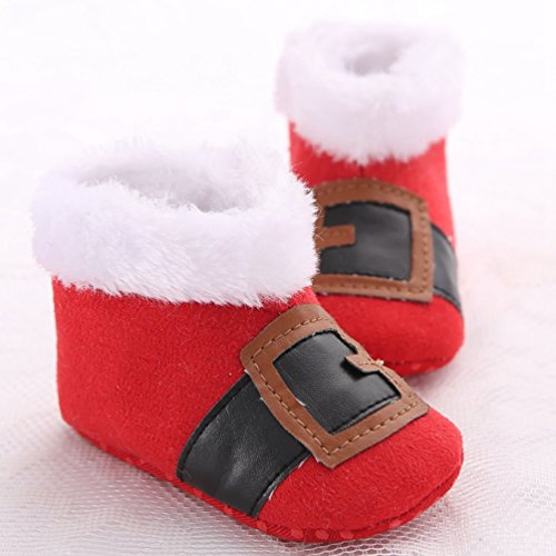 YiJee Baby Kinder Weihnachtsstil Warme Schneestiefel mit Weiche Sohlen Herbst und Winter Niedlich Kinderschuhe Rot Schwarz