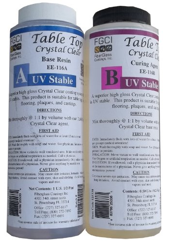Epoxy Crystal Clear Table Top Resin, 1:1, 1 Pint Kit, Crystal Clear, Parts A & B Included - 1 Pint Kit