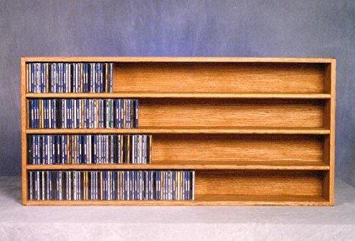 Solid oak CD Wall Mount Cabinet - 472 CDs (honey oak) (24.75''H x 52''W x 6.75''D) by Wood Shed
