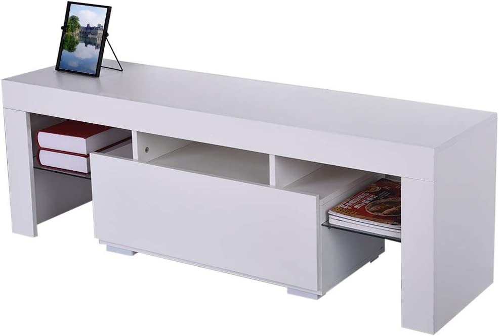 Minimalist TV Console with Cabinet High Gloss TV Stand Entertainment Center for 43//55//50//65 Inch TV Modern LED TV Stand with Storage and Drawers White TV Stand with Lights Living Room Furniture