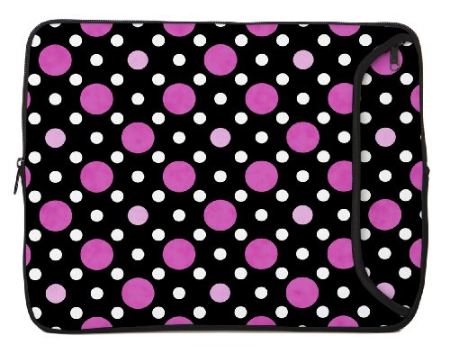 - Designer Sleeves 13-Inch Polka Dots Laptop Sleeve, Black/Pink/White (13DS-PDBPW)