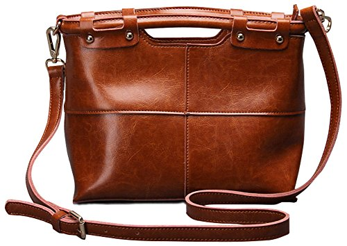 QZUnique Women's Cowhide Genuine Leather Vintage Style Small Top Handle Cross Body Shoulder Bag Brown by QZUnique