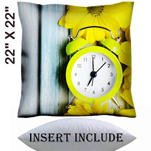 MSD 22x22 Throw Pillow Cover with Insert - Satin Polyester Pillow Case Decorative Euro Sham Cushion for Couch Bedroom Handmade Image ID 27405326 Clock and Beautiful Flowers on Blue Wooden Background (Msd Square Clock)