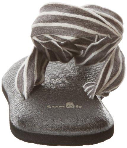 Sanuk Frauen Yoga Sling 2 Flip Flop Holzkohle / natürliche Streifen