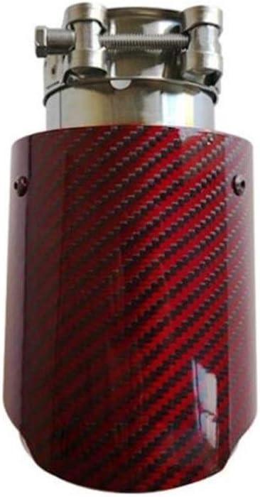 Color : 51-101mm Red Carbon Fiber Punta del silenziatore di Scarico Sistemi di Tubi di Scarico in Acciaio Inossidabile Trim Dritto for Akrapovic Car Styling