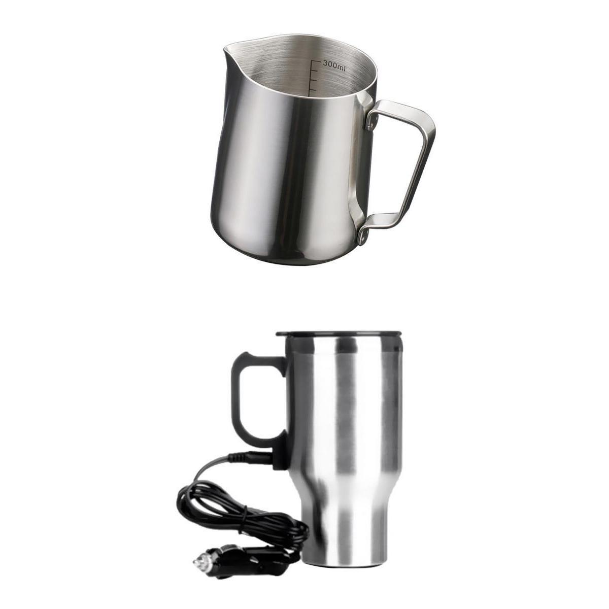 Homyl Pitcher Latte Milk Art Frothing Jug 350ml & 450ml In-Car Heated Mug