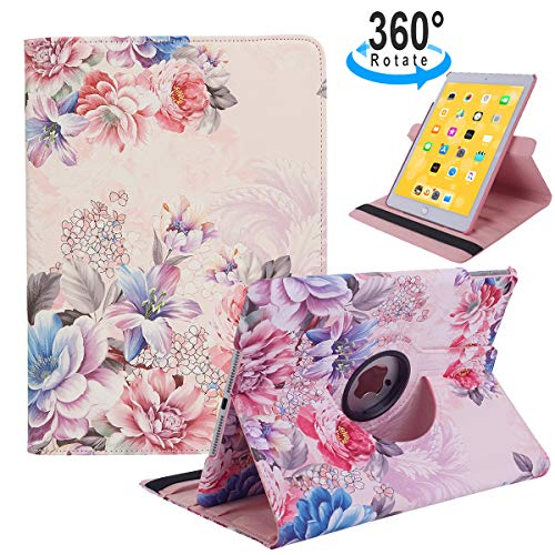 iPad 9.7 2018/2017, iPad Air 2, iPad Air Case - 360 Degree Rotating Stand Protective Cover with Auto Sleep Wake for Apple New iPad 9.7 inch (6th Gen, 5th Gen) / iPad Air 2013 Model (Peony Flowers) (Best Rotating Ipad Air Case)