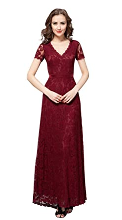 8edb003be14 vimans Women s 2016 Elegant Long V Neck Lace Bridesmaid Gowns with ...