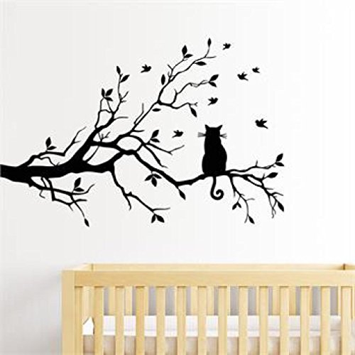 Rumas DIY Cat On Long Tree Branch Wall Mural, Removable Peel and Stick Wallpaper, Kids' Room Decor, Home & Kitchen Decor, Wall Sticker Decal Decor for Office Kindergarten (Black)