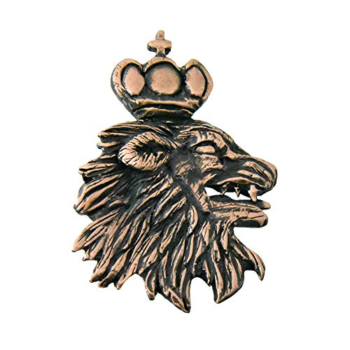 Creative Pewter Designs Medieval Lion Head and Crown Copper Plated Lapel Pin, Brooch, Jewelry, GC006