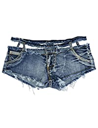 Heymei Women's Hole Shown Waist Jean Fashion Super Short Sexy Jean Denim