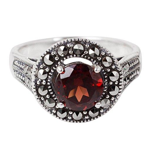 NOVICA Garnet and Marcasite .925 Sterling Silver Artisan Ring, Contemporary Belle'