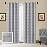 Fancy Collection Set of 2 Panels Curtain Embroidery Jacquard Curtain,108″ W X 84″ L, Each Panel is 54 – Inch- Wide X 84 -Inch – Long- Package Contains Set of 2 Panels New (Arielle, Grey) For Sale