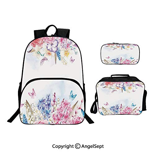 Backpack With Lunch Bag Pencil Bag Three-piece,Romantic Garden Roses Flowers Daisies Leaves Print Light Pink Purple Light Blue and Coral,For Girls Water Resistant Colorful Christmas Gifts
