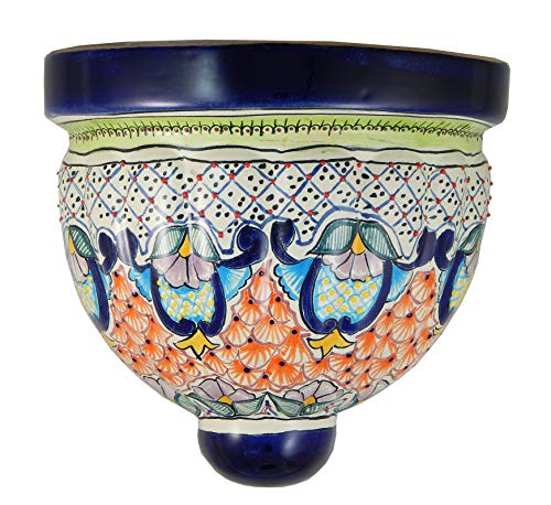 Mexican Talavera Wall Planter Handmade Hand Painted Pottery Planter Wall Hanging Sconce Planter # 02 ()