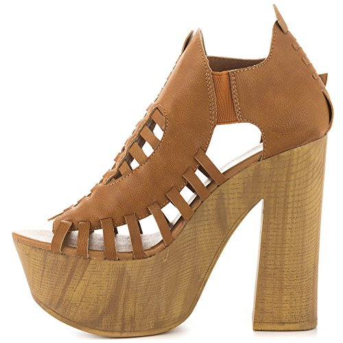 Penny Loves Kenny Ankle Strap Heels (Penny Loves Kenny Women's Merlin Platform Sandal, Tan Matte, 10 M US)