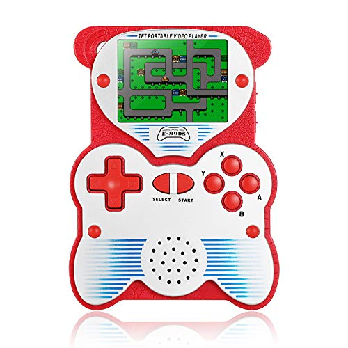 Easegmer Classic Handheld Games Console, PD-250 Panda Design 2.6 Inch Built-in 220 Games Retro Video Game Console 12 Bit Pocket Game Player Portable Gaming System for Kids Adult(Red)
