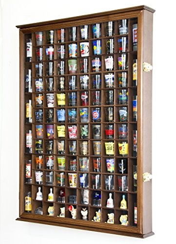 108 Shot Glass Shooter Display Case Holder Cabinet Wall Rack w/ UV Protection -Walnut by sfDisplay.com, Factory Direct Display Cases (Image #2)