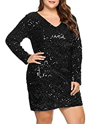 Plus Size V-Neck Cocktail Sequin Dress