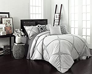 Vue Cersei 3 Piece Fashion Comforter Set, King, Grey