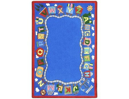 Joy Carpets Kid Essentials Language & Literacy Reading Train Rug, Multicolored, 5'4'' x 7'8'' by Joy Carpets