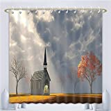 Amsome Unique Custom Shower Curtains Christian Small Church Trees View Silky Satin Orange White Gray.Jpg Polyester Fabric Shower Curtain For Bathroom, 60 x 78 Inches
